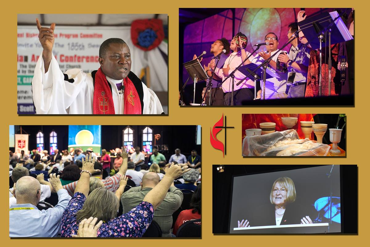Clockwise from top left: Bishop Samuel J. Quire Jr., 2018 Liberia Annual Conference, photo by E Julu Swen; worship team at 2015 California-Nevada Annual Conference, photo by Koua Vang; chalices and bread at 2015 Dakotas Annual Conference, photo courtesy of the conference; Bishop Rosemarie Wenner, 2015 Germany South Annual Conference, photo by Klaus Ulrich Ruof; attendees of 2017 Kentucky Annual Conference, photo by Kathleen Barry.