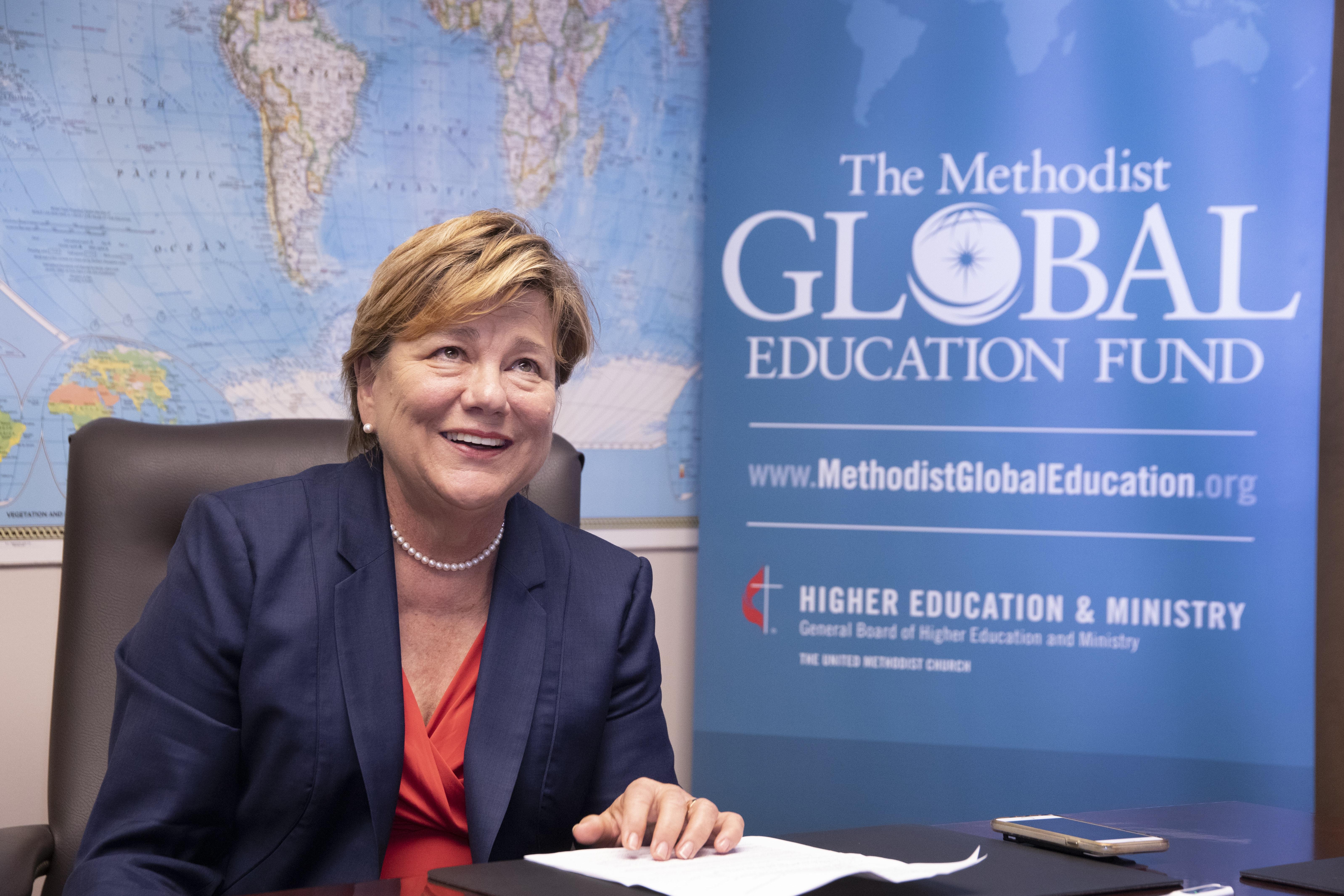 A Revda. Kim Cape, principal executiva do Conselho Metodista Unido de Educação Superior e Ministério, se aposenta em 1 de junho de 2019. Foto por Kathleen Barry, Notícias MU.