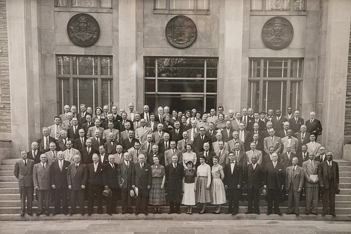 Photo of the original board of the United Methodist Board of Higher Education and Ministry from 1953 shows early diversity and hangs outside the office of the Rev. Kim Cape who served on the board before her post as general secretary.  Photo by Kathleen Barry, UMNS.