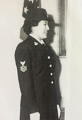 Geneva Foote in her naval uniform, 1955. Photo courtesy of Carrie Sahmaunt.