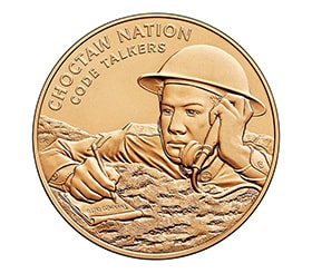 The Choctaw Nation Congressional Gold Medal commemorates the work of Choctaw code talkers. U.S. Mint, public domain photo courtesy of Wikimedia Commons