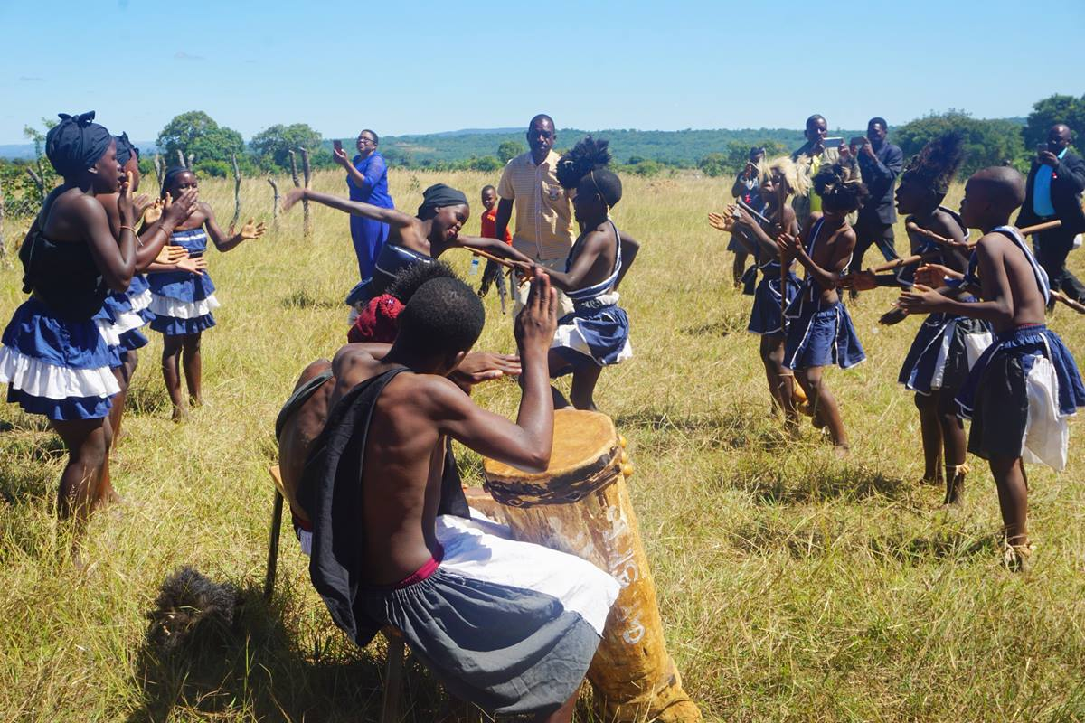 Students practice traditional dance and music at Ngundu Primary School in Buhera, Zimbabwe. The once-ailing school now has new classrooms and teacher quarters built through the Chabadza Community Development Program, a partnership between The United Methodist Church in Norway and Zimbabwe. Photo by Kudzai Chingwe, UMNS.