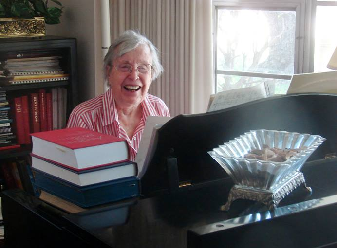 Jane Marshall, seen at her piano in 2016, became a revered figure in United Methodist circles and beyond for her many anthems, hymns and other sacred music pieces, as well as her work as a music educator. She died May 29, 2019, in Dallas, at age 94. UM News file photo by Sam Hodges.