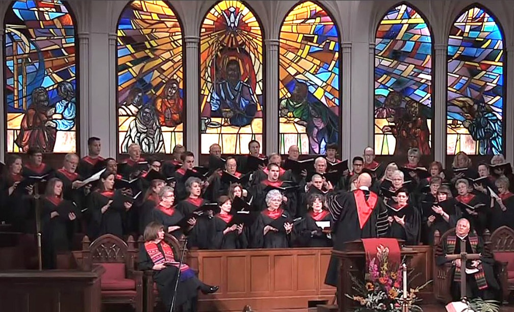 "A performance of ""My Eternal King"" by Jane Marshall performed by the Polk Street United Methodist Church. Video image courtesy of Polk Street United Methodist Church."