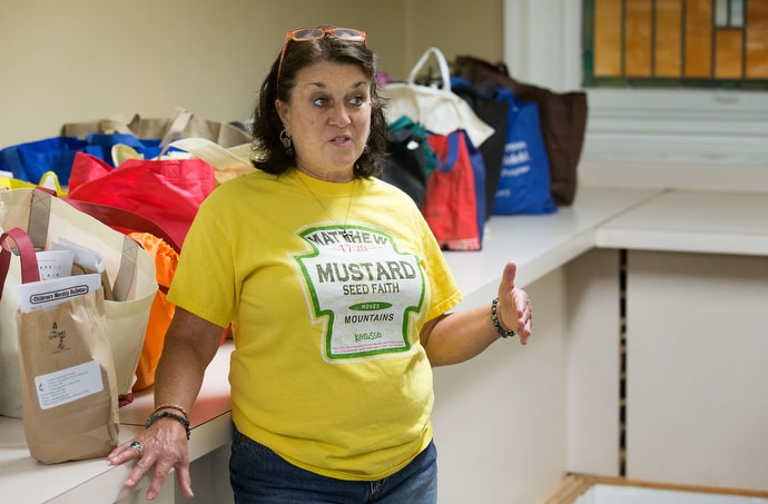 Lynne Menendez runs a children's food program at United Methodist Temple in Clarksburg, W.Va. Photo by Mike DuBose, UM News.
