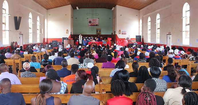 Members attend worship at St. Paul United Methodist Church in Harare, Zimbabwe. Some United Methodist churches are offering counseling and financial classes to help members navigate the country's struggling economy. Photo by Priscilla Muzerengwa, UM News.