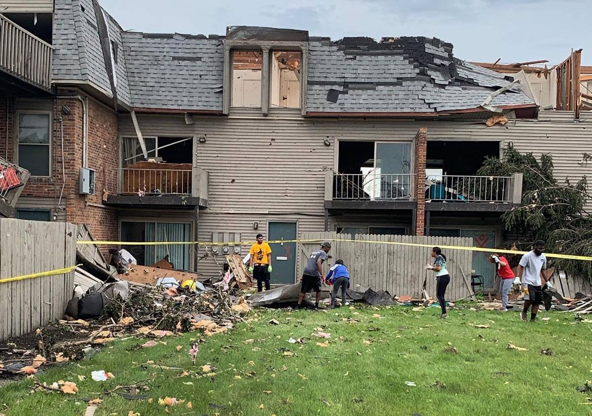 Members of McKinley United Methodist Church work with Dayton Young Black Professionals to clean-up from recent tornado damage in Dayton, Ohio. Photo by the Rev. Peter Edward Matthews.