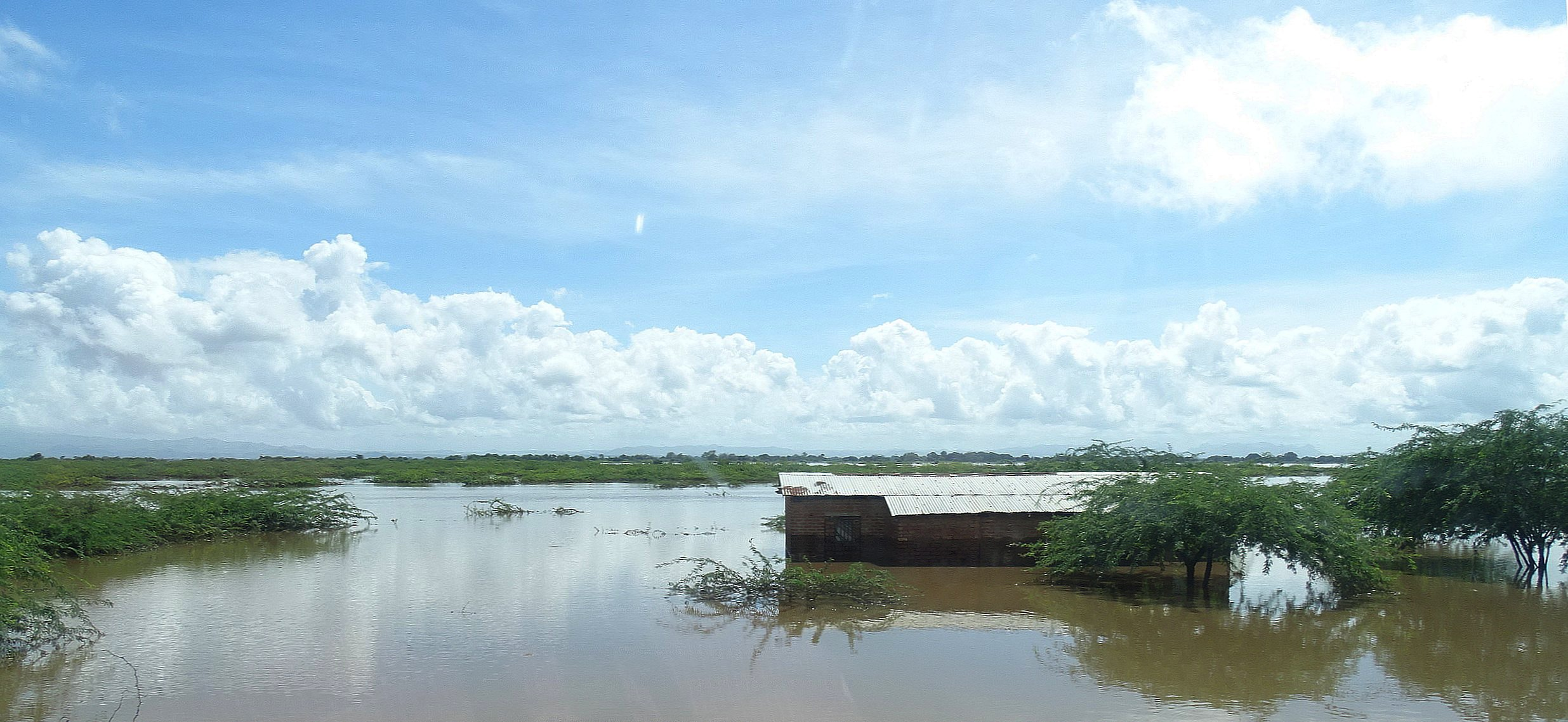 This is one of the submerged homes hit hard by flooding after Cyclone Idai in Malawi. Family belongings and livestock were swept away by the rising water. Photo by Francis Nkhoma, UM News.