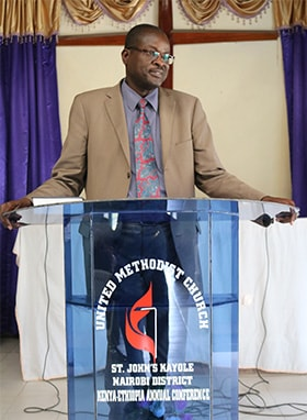 East Africa Bishop Daniel Wandabula delivers a sermon at Kayole St. John's United Methodist Church in Nairobi, Kenya. The service marked the opening of the United Methodist Church Savings and Credit Co-Operative Society. Photo by Gad Maiga, UM News.