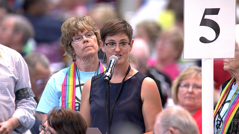 In a file photo from 2016, the Rev. Anna Blaedel speaks during the Iowa Annual Conference session on June 4. Photo by Arthur McClanahan, Iowa Conference.