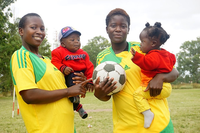 Anna Mufundirwa (left) and Melinda Hondo, former players with the United Methodist Domboramwari Circuit soccer team in Harare, know the health benefits of exercise and physical fitness. Photo by Kudzai Chingwe, UM News.