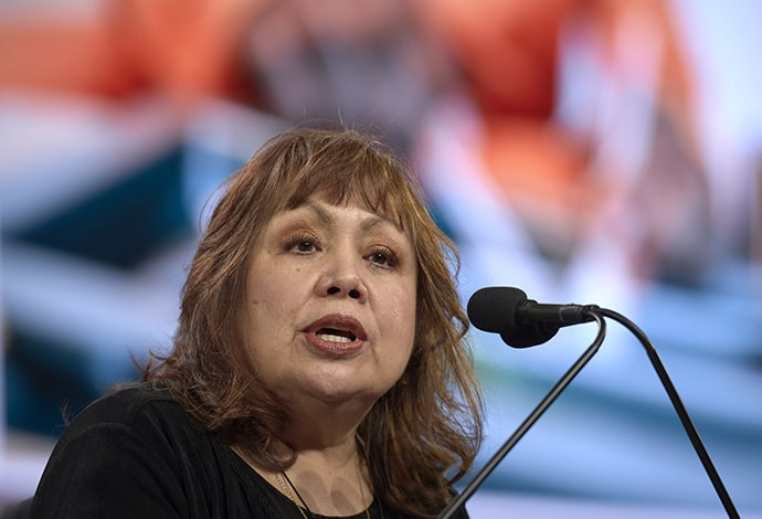Bishop Minerva Carcaño speaks during the opening session of the General Conference of The United Methodist Church in St. Louis in February 2019. Carcaño is bishop of the California-Nevada Conference. File photo by Paul Jeffrey, UM News.