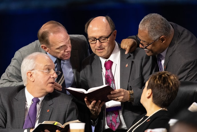 Bishop David Bard (center) confers with fellow bishops on the issue of whether the legislative committee can refer items to the denomination's Judicial Council for review during the 2019 United Methodist General Conference in St. Louis. Bard has since joined with Bishop Scott Jones in proposing a plan to reshape The United Methodist Church. File photo by Mike DuBose, UM News.