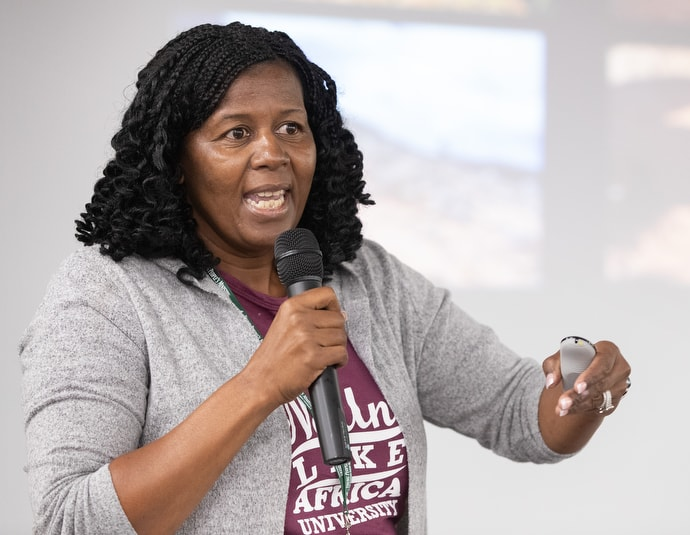 Zanelle Furusa, a lecturer at United Methodist-related Africa University in Zimbabwe, speaks about Cyclone Idai in the Indian Ocean and other effects of climate change during the 2019 United Methodist Creation Care Summit at Scarritt Bennett Center in Nashville, Tenn. Photo by Mike DuBose, UM News.