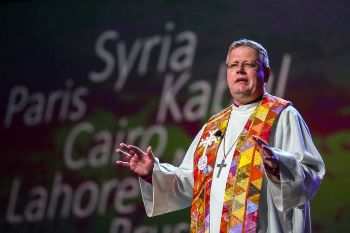 "Bishop Christian Alsted preaches during morning worship at the 2016 United Methodist General Conference in Portland, Ore. Alsted, leader of the Nordic and Baltic Area, said that from a European United Methodist perspective, a division of the church would most likely have ""devastating consequences."" File photo by Maile Bradfield, UM News."
