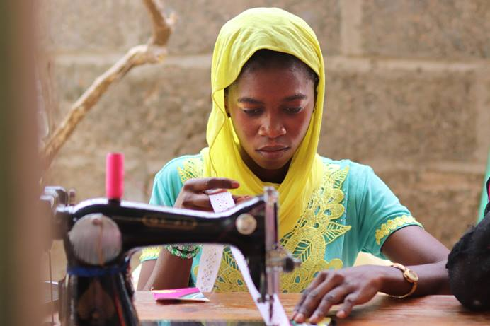 Maimouna Diaby, 18, learns to sew in a class at Canaan United Methodist Church in Mbour, Senegal. The church is part of two mission initiatives in Senegal and Cameroon that will join the Côte d'Ivoire Conference. Photo by Isaac Broune, UM News.