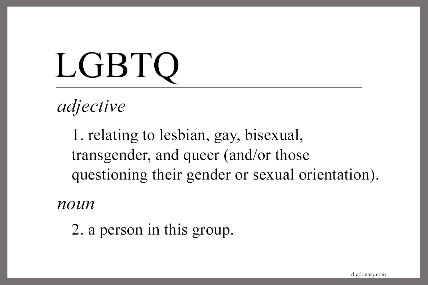 A definition of the initials LGBTQ adapted from dictionary.com. Graphic by Laurens Glass, UM News.
