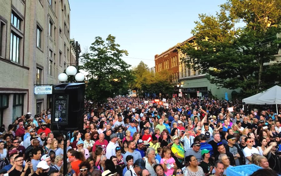 People gather in the entertainment district of Dayton, Ohio, the day after a mass shooting claimed the lives of nine people, not including the shooter. Photo by the Rev. Cris Reese, West Ohio Conference.