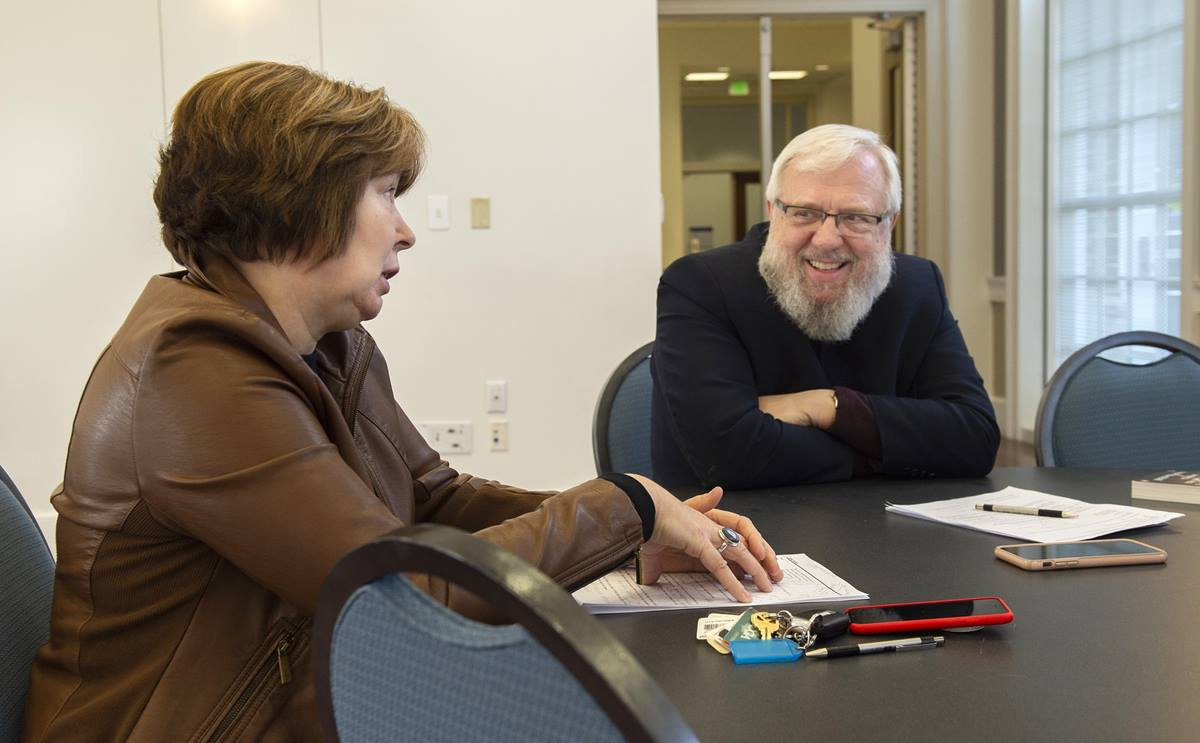Susanne Scholz (left) and the Rev. Billy Abraham, both professors at Perkins School of Theology in Dallas, are ideological adversaries and unlikely friends. Photo by Hillsman Stuart Jackson, © Southern Methodist University.