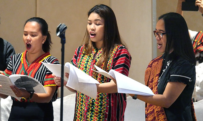 The Union Theological Seminary choir, under the direction of Deborrah Reyes, helps lead closing worship for an international United Methodist meeting in Manila, Philippines, in March. The seminary, co-founded by Methodists, is the oldest Protestant seminary in the Philippines. Photo by Heather Hahn, UM News.