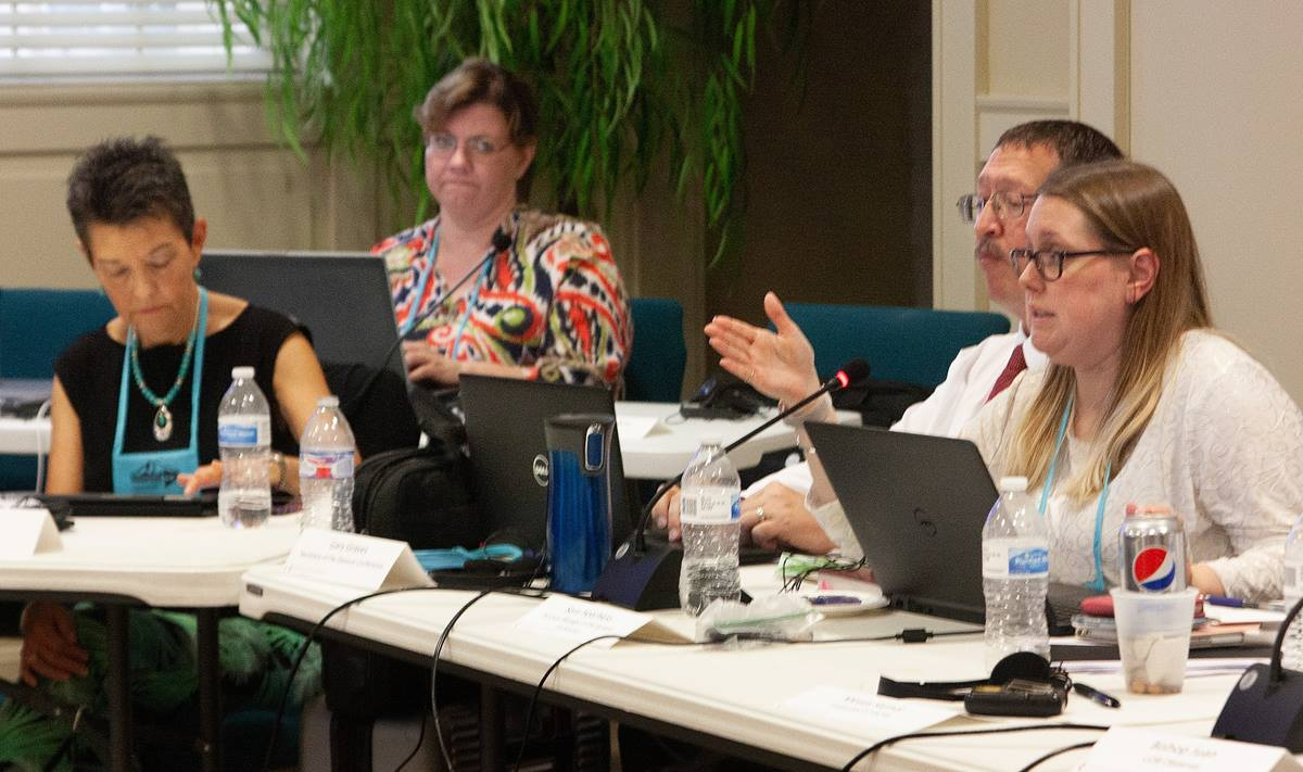 Sara Hotchkiss, General Conference business manager, speaks to the Commission on General Conference during its meeting at First United Methodist Church in Lexington, Ky. Photo by Heather Hahn, UM News.