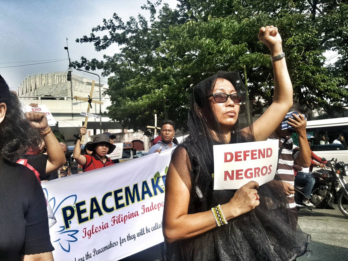 Norma P. Dollaga, a United Methodist deaconess, joined other religious groups during an Aug. 20, 2019, protest decrying the killings and violence on Negros Island. Filipino United Methodists have strongly condemned the bloodshed. Photo courtesy of Tetang Dollaga, UM News.