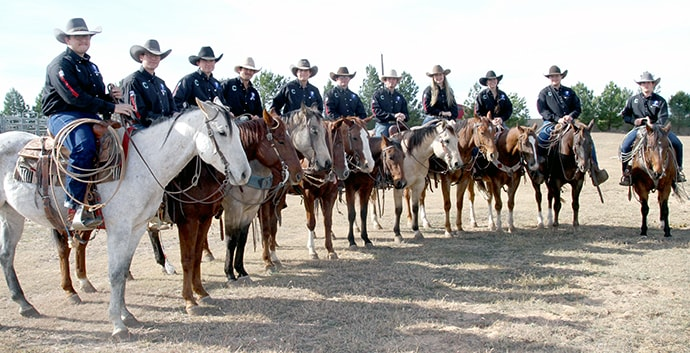 The Clarendon College Ranch Horse Team represents the oldest institution of higher education in the Texas Panhandle at competitions throughout Texas in ranch and stock horse events. The team also promotes a deep ranching tradition in the state. Photo courtesy of Clarendon College.