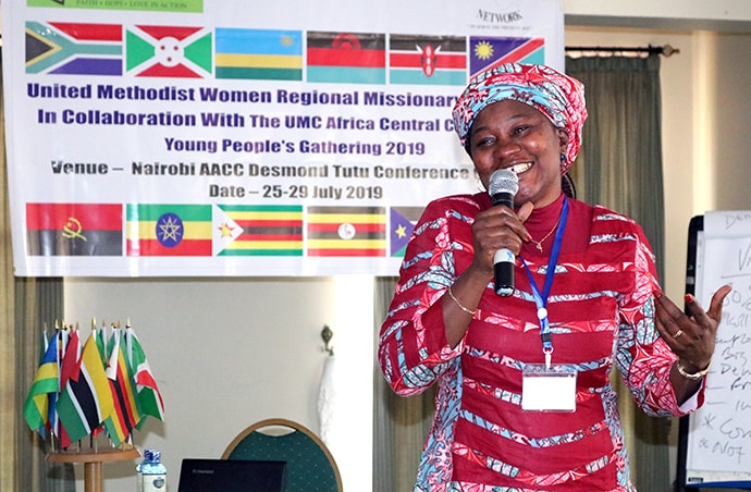 Finda Quiwa, a United Methodist Women Regional Missionary, speaks during the Africa Youth and Young Adult Network gathering for young United Methodists in Nairobi, Kenya. Attendees met at the Desmond Tutu Conference Centre to discuss leadership in small-business development, technical training and creative approaches to problem solving. Photo by Gad Maiga, UM News.