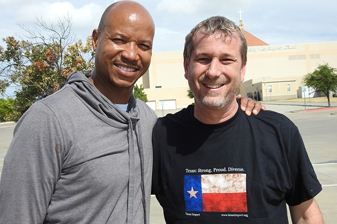 The Revs. Steve Miller (left) and Owen Ross are friends from growing up in Henderson, Texas, and helped organize a Labor Day Weekend trip by Texas clergy and laity to the Texas-Mexico border. Photo by Sam Hodges, UM News.