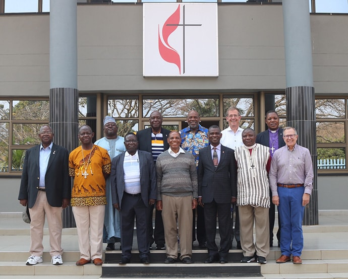 United Methodist bishops from Africa and the U.S. who attended the meeting of the Africa College of Bishops gather for a photo at the Zimbabwe West Conference in Harare. Photo by Eveline Chikwanah, UM News.