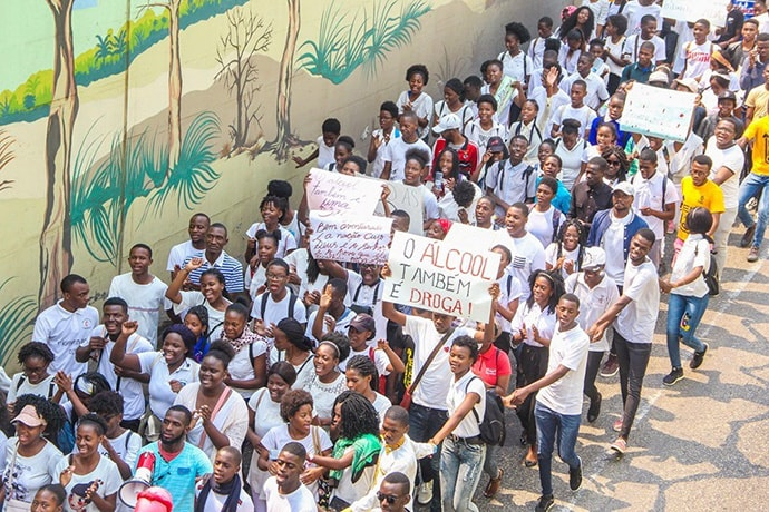 United Methodist youth march in the streets of Luanda, Angola, in celebration of the church youth group's 67th anniversary. Photo by Augusto da Graça, UM News.
