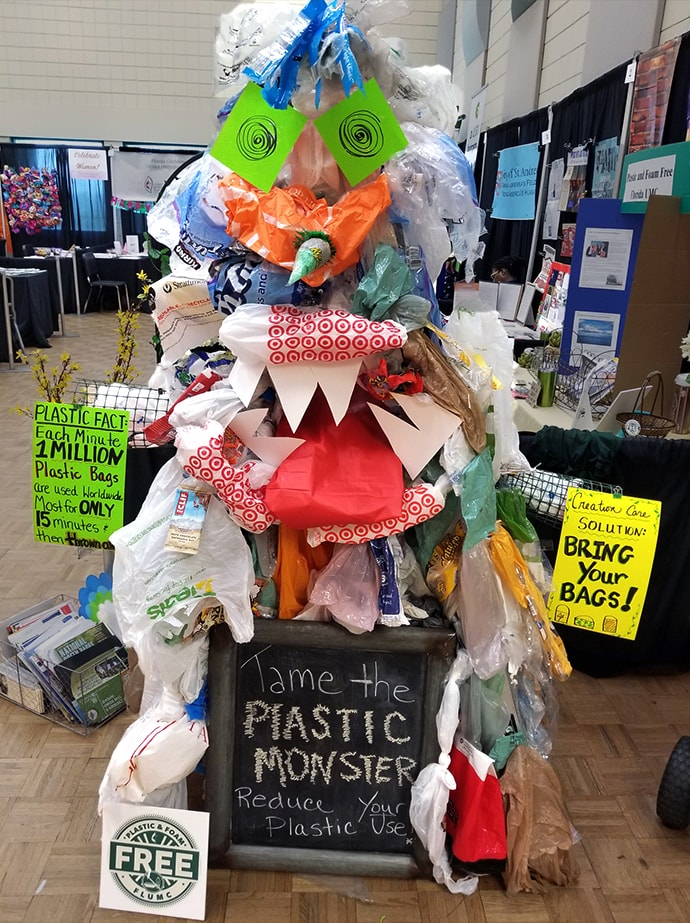 A monster made from nonrecyclable plastic was displayed at the Florida Annual Conference in June 2019 in Lakeland, Fla. Photo courtesy of Cara Fleischer.