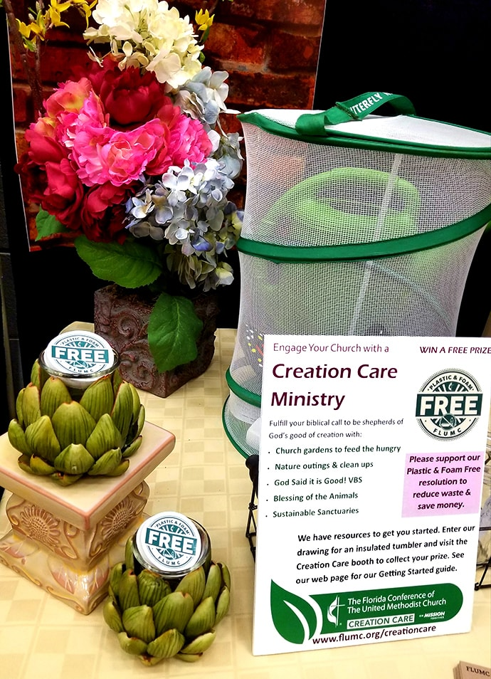 A display promoting better care of the environment was displayed during the Florida Annual Conference in June 2019 in Lakeland, Fla. Photo courtesy of Cara Fleischer.