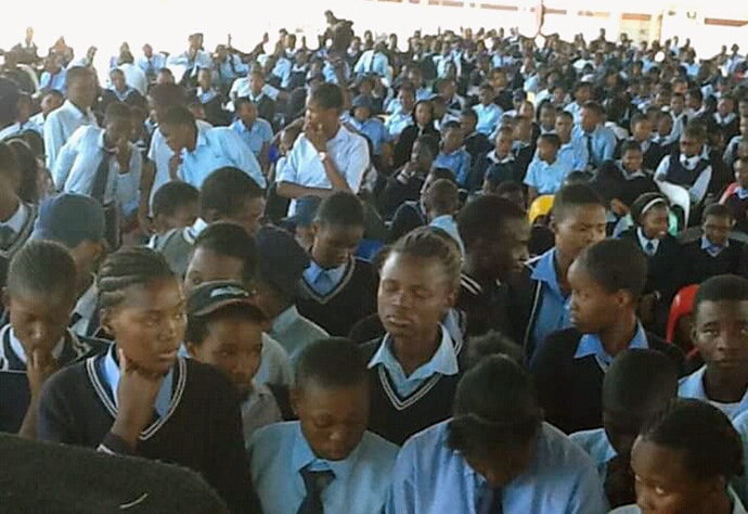 Students at the Maun Senior Secondary School in Maun, Botswana, gather for a school assembly. The United Methodist school has grown significantly since it opened in 1970.  Photo by the Rev. Tafadzwa Mabambe.