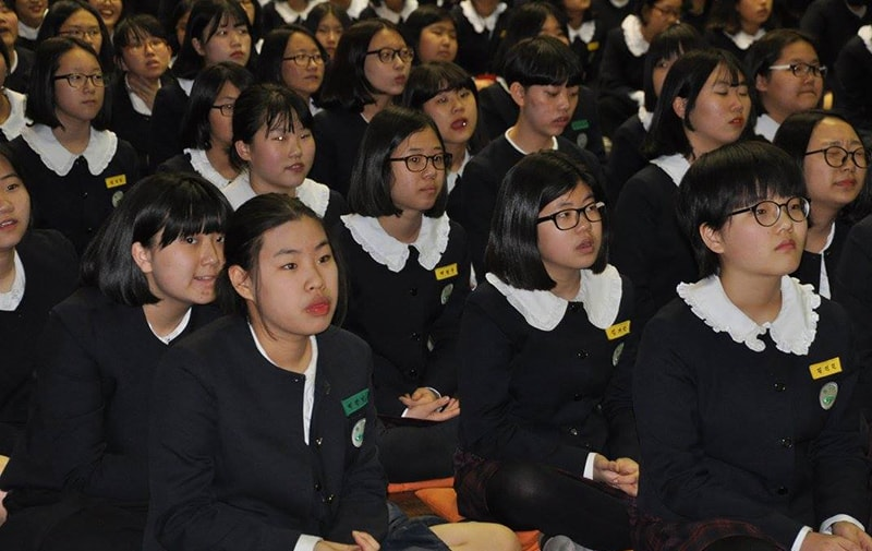 Bishop Marcus Matthews visits Holston Girls' Middle and High School in Daejeon, South Korea, in April 2016