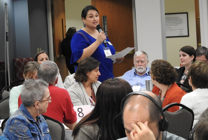 Abby Gutierrez, a staff member for San Antonion Region Justice For Our Neighbors, speaks at the Sept. 20-21 Border Convocation. The San Antonio gathering brought together Methodists from the U.S. and Mexico to talk about humanitarian and advocacy response to U.S. immigration policies. Photo by Sam Hodges, UM News.