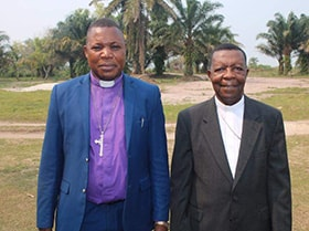 Bishop Daniel Lunge Onashuyaka from the United Methodist Congo Central Conference and Bishop Nicolas Djomo Lola from the Roman Catholic Diocese of Tshumbe, Congo. Photo by Francois Omanyondo, UM News.