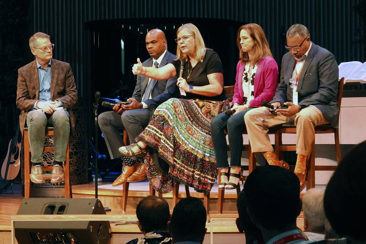 Pat Luna speaks during a panel discussion at the Leadership Institute, held at the United Methodist Church of the Resurrection in Leawood, Kansas, Sept. 25-27. She was joined by the Revs. Adam Hamilton, Junius B. Dotson, Ginger Gaines-Cirelli and Michael Bowie. This year's event focused on preserving, but reforming The United Methodist Church.  Photo by Sam Hodges, UM News.