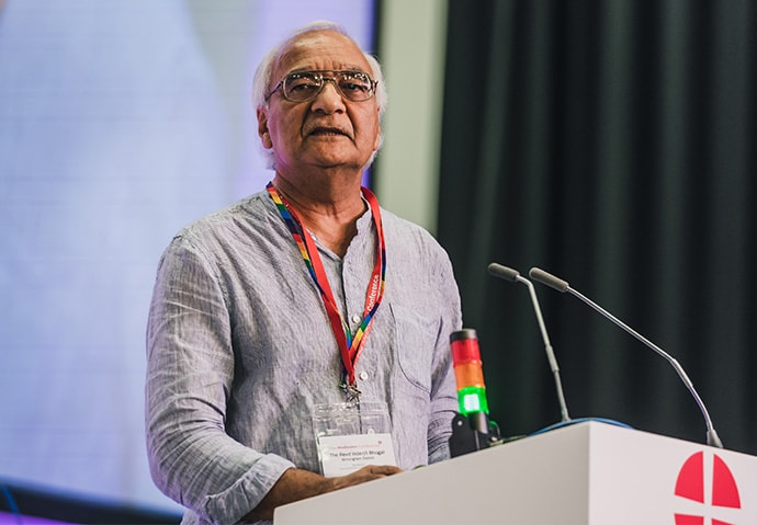 The Rev. Inderjit Bhogal speaks during the 2018 Methodist Conference in Nottingham, England. Bhogal, a theologian, former president of the British Methodist Conference and founder of the City of Sanctuary movement, is a recipient of the 2018 World Methodist Peace Award. Photo by Alex Baker, Methodist Conference.