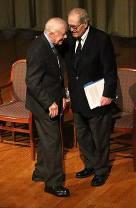 Former U.S. President Jimmy Carter speaks to the Rev. James T. Laney during the 2018 Roundtable for Peace on the Korean Peninsula held at The Carter Center in Atlanta Nov. 9-11. File photo by the Rev. Thomas Kim, UM News.