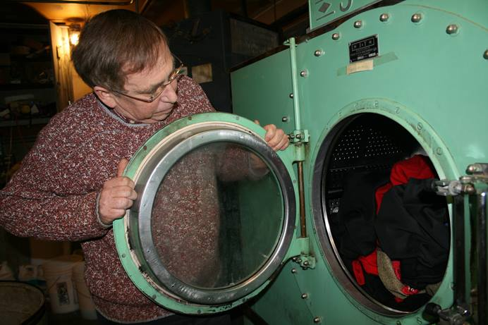 Dennis Valstad from Immanuel United Methodist Church at Vogue Dry Cleaners in Ribon, Wisconsin. Photo courtesy of Ripon Commonwealth Press-Express.