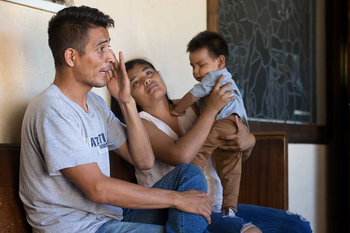 Jose Antonio Marchas Novela recounts the threats of violence that caused him to flee Mexico with his wife, Irlanda Lizbeth Jimenez Rodriguez, and their 1-year-old son, Jose Antonio. The family took shelter at the Christ United Methodist Ministry Center in San Diego in August 2018 while seeking asylum. United Methodists are initiating a $2 million project to support asylum seekers in the U.S.  File photo by Mike DuBose, UM News.