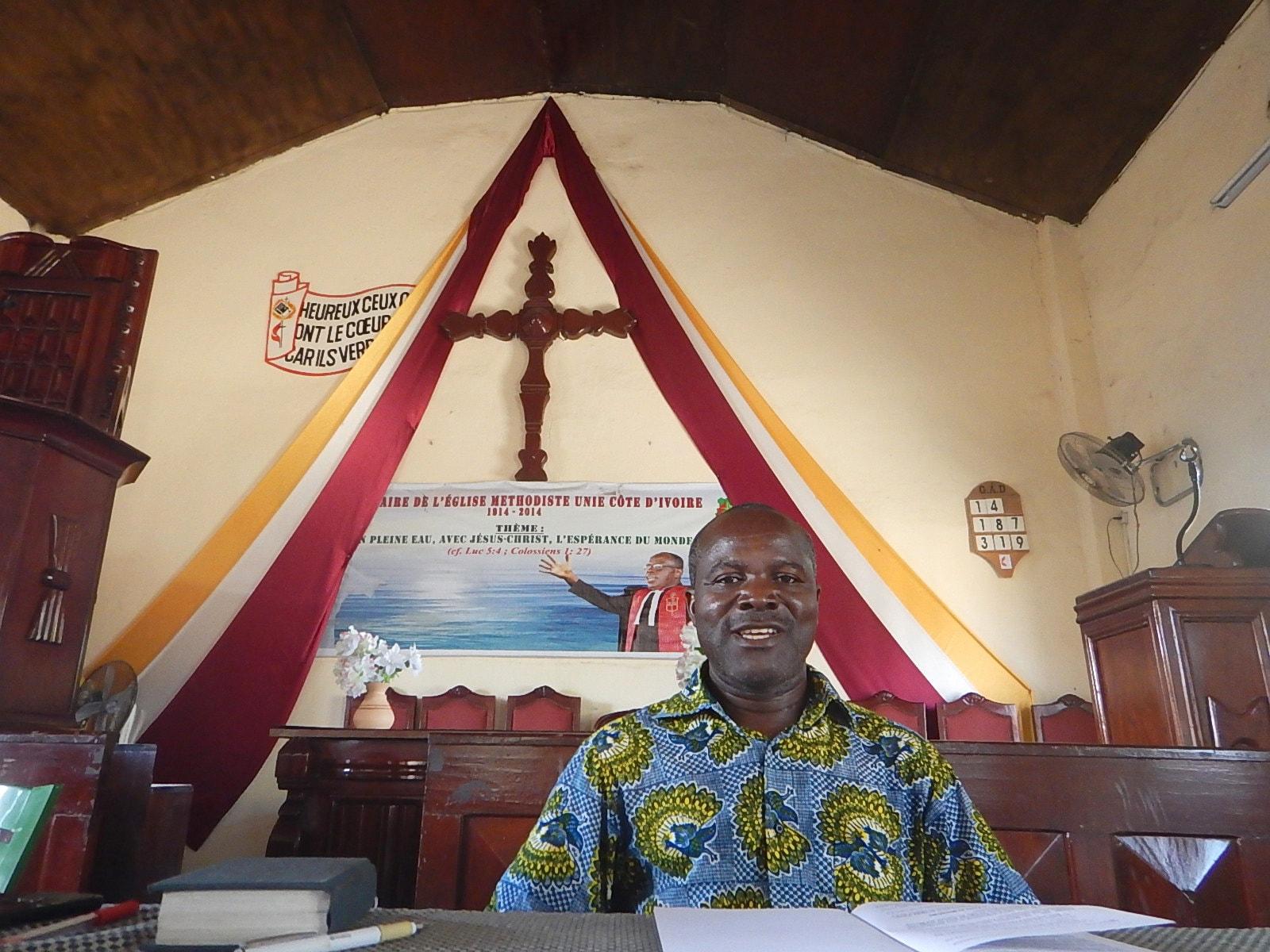 Lay pastor Raphaël Aboua serves Ebenezer Beago United Methodist Church in Abidjan and 10 other United Methodist Churches in Côte d'Ivoire. Photo by Isaac Broune, UMNS.