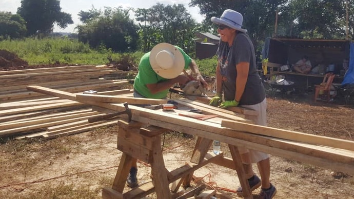 Jack and Doris Williams of Lynn Haven United Methodist Church in Panama City, Florida, help with the construction of a new United Methodist church in the Uganda-South Sudan Conference. Photo courtesy of the Rev. Isaac Kyambadde.