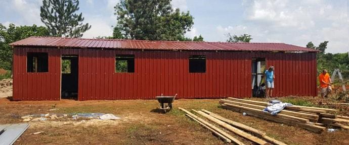 Members of Lynn Haven United Methodist Church in Panama City, Florida, help construct a new church building in Nabilumba, Uganda. Photo courtesy of the Rev. Isaac Kyambadde.