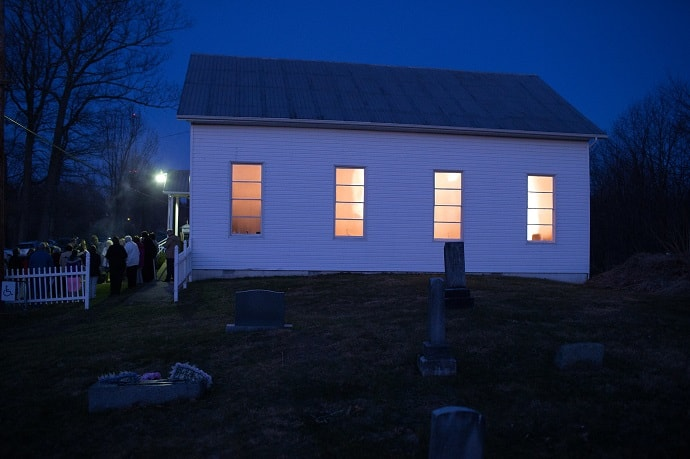 Parishioners gather outside Talbott (W.Va.) United Methodist Church for the Easter sunrise service. Photo by Mike DuBose, UM News.