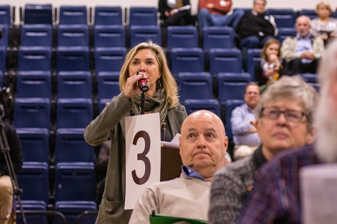 The Rev. Beth Caulfield, president of the Greater New Jersey Wesleyan Covenant Association, submits a question of law during the special session. Photo by Corbin Payne.