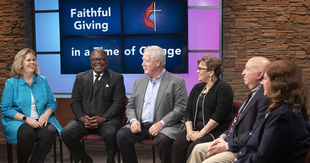 """Faithful Giving in a Time of Change,"" a roundtable discussion of connectional giving in The United Methodist Church, is a video resource designed for local congregations to help explain the role of giving in the church. Panelists were (from left) Christine Dodson, the Rev. Reginald Clemons, John Pearce, the Rev. Lyssette Perez, the Rev. Dennis Shaw and panel moderator Vicki Brown. Photo by Kathleen Barry, UM News."