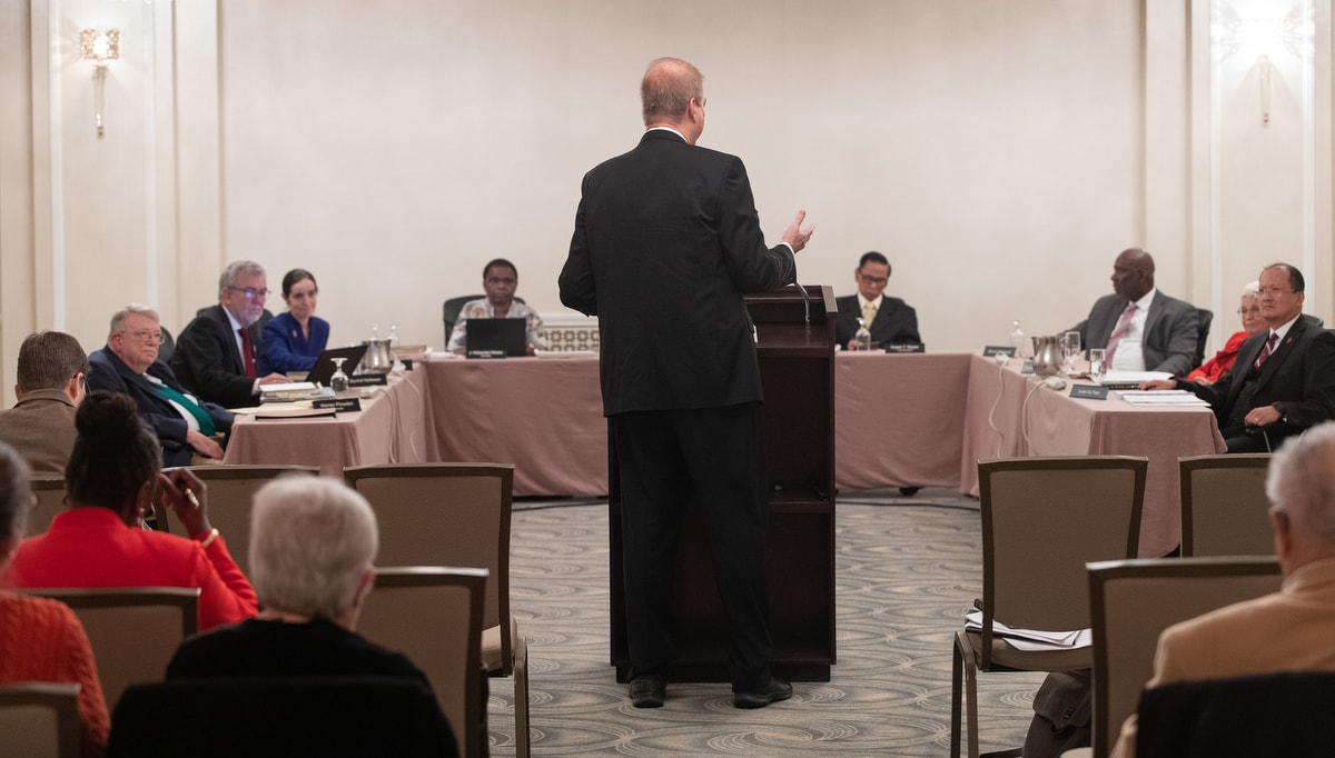 Bishop Kenneth H. Carter speaks during an oral hearing before the United Methodist Judicial Council meeting in Evanston, Ill. Carter is president of the denomination's Council of Bishops. Photo by Mike DuBose, UM News.