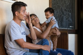 Jose Antonio Marchas Novela recounts the threats of violence that caused him to flee Mexico with his wife, Irlanda Lizbeth Jimenez Rodriguez, and their 1-year-old son, Jose Antonio. The family took shelter at the Christ United Methodist Ministry Center in San Diego while seeking asylum. Photo by Mike DuBose, UM News.